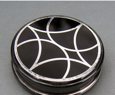 French enamel & silver compact