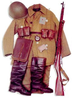 "Soviet infantry, 1941 01 - Model 1940 steel helmet 02 - ""Telogreika"" jacket 03 - field trousers 04 - boots 05 - mm Mosin rifle 06 - rifle oiler 07 - Model 1930 ammo pouches 08 - personal dressing 09 - military ID 10 - synthetic leather map pouch Military Photos, Military History, Camouflage, Uniform Insignia, Ww2 Uniforms, Military Uniforms, Soviet Army, Military Modelling, Red Army"