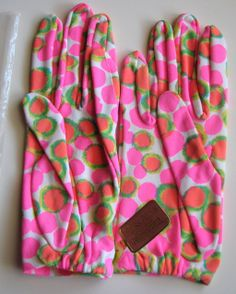 Polka Dots •~• vintage Miss Aris green, orange, and pink gloves, 1960s