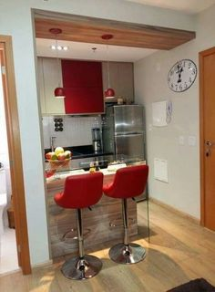 Apartment Kitchen Ideas Red 35 Ideas For 2019 Kitchen Room Design, Home Decor Kitchen, Interior Design Kitchen, Home Kitchens, Simple Interior, Small Apartment Kitchen, Apartment Layout, Apartment Ideas, Red Kitchen