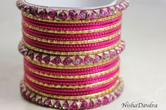 £4 Deep Pink Bangle Set www.NishaDavdra.com Online Shopping Worldwide Delivery Paypal  #Bollywoodstyle #bellydancerjewelry #bangles #bracelets #indianfashion #saree #pink #allthingspink #bracelets #ibiza #greatgifts