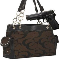 Brown Fashion Signature Conceal and Carry Purse Handbag Bag