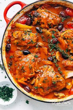 Slow cooked Chicken Cacciatore, with chicken falling off the bone in a rich and rustic sauce is simple Italian comfort food at its best.   https://cafedelites.com