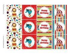 Shop for circus on Etsy, the place to express your creativity through the buying and selling of handmade and vintage goods. Carnival Birthday Parties, Circus Birthday, Circus Theme, Happy Birthday, Birthday Ideas, Sticker Printable, Circo Vintage, Carnival Games, Happy A