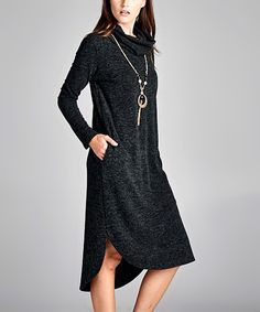 Loving this Love, Kuza Black Marled Cowl Neck Side-Pocket Dress on #zulily! #zulilyfinds