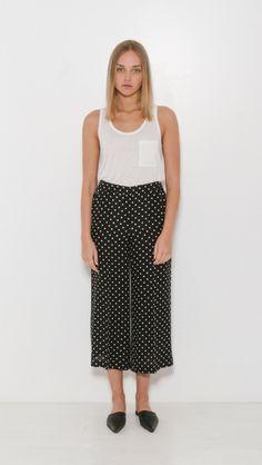 Theory Raoka WB Haze Dot Trouser in Black and Ivory | The Dreslyn