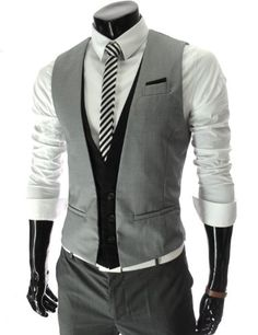 TheLees (VE35) Mens Layered Style 3 Button Slim Vest Waistcoat Gray Large(US Medium) TheLees,http://www.amazon.com/dp/B008N3XAMG/ref=cm_sw_r_pi_dp_lwMcsb1T50A2GTX5