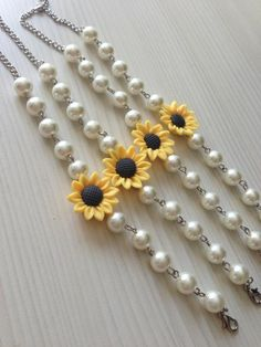 Ivory pearl bracelet with sunflower sunflower pearl bracelet bridal bracelet bridesmaids jewelry bridesmaid gift wedding jewelry Bridesmaid Bracelet, Bridal Bracelet, Bridesmaid Gifts, Bridesmaid Dresses, Wedding Dresses, Wedding Accessories, Wedding Jewelry, Sunflower Jewelry, Dream Wedding