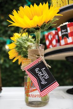 Single sunflower centerpieces