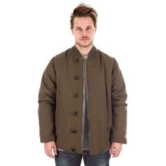 Visvim Corps Jacket in Olive Reversed Brown Front View