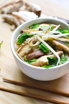 Comfort in a bowl! A simple Asian-style rice noodle soup with bok choy and mushrooms. (Vegan Rice Noodles)