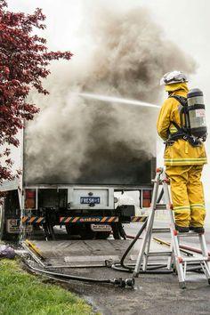 Laundry truck fire