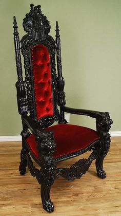 Carved Mahogany King Lion Gothic Throne Chair Black Finish with Red Velour 6' #Gothic