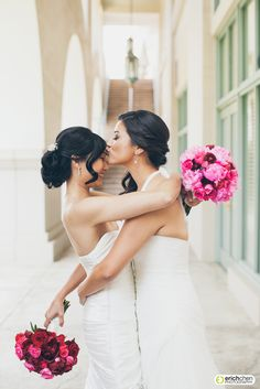 Same sex couple first touch photographed at the Westin Pasadena. Black and White Wedding Photography. Two brides are better than one. Lesbian Wedding. Roses and peonies bridal bouquets. Erich Chen Photography. www.erichchen.com www.erichchenblog.com