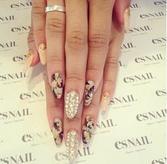 Zendaya Coleman's camouflage & rhinestones nails. ESnail LA