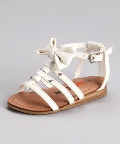 Take a look at this White Bow Sandal by Kids Zone on #zulily today!