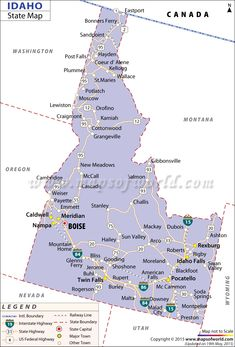 Detailed state map of Idaho highlighting the state capital, major cities, railways, road networks in the state. The Idaho state map also shows the interstate, federal and state highways along with bordering states. Sawtooth Mountains, West Coast Trail, Utah Hikes, Boise Idaho, Colorado Hiking, Coeur D'alene, City Maps, State Map, Wyoming