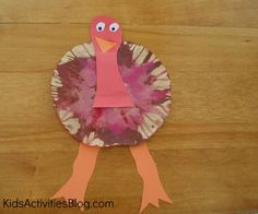 """{Gobble, Gobble} A Thanksgiving Preschool Craft, this would also be a good scissor activity if you let them cut into the filter a short way to make """"feathers"""" on the tail.  Just a thought."""
