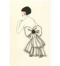Art Deco fashion drawing   4 for 3 SALE Isabella by matouenpeluche, $6.25