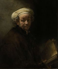 Here, Rembrandt is about 55. In this portrait he represents St Paul, the apostle, identified by his usual attributes: a manuscript and a sword, of which the hilt extends from under the cloak. The self portrait is typical of Rembrandt's late style of painting: he used the paint structure in the composition, as in the folds of the turban for example. Zelfportret als de apostel Paulus, Rembrandt Harmensz. van Rijn, 1661. #Rijksmuseum