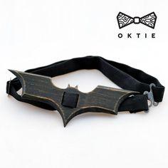 OKTIE man wood bow tie original hand made black clip-on Batman Dark Knight #OKTIE #BowTie