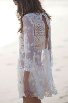 Lovely sheer white dress - beach boho hippie festival style fashion, lace and crochet, cream