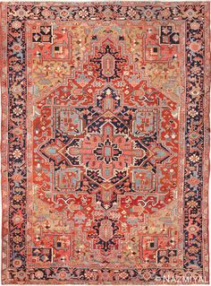 View this magnificent and happy antique geometric Persian Heriz rug #49632 available for sale at Nazmiyal Antique Rugs located in New York City.