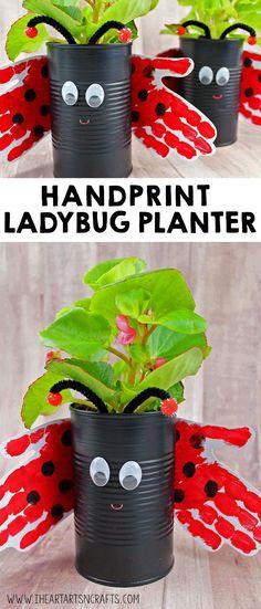 Handprint Ladybug Planter - Easy Crafts for All Spring Crafts For Kids, Easy Crafts For Kids, Summer Crafts, Toddler Crafts, Projects For Kids, Fun Crafts, Art For Kids, Arts And Crafts, Children Crafts