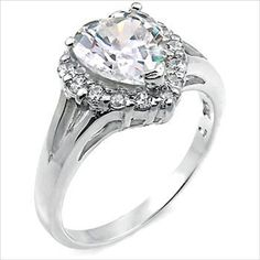 4ct cz Heart cut Solitaire Engagement Ring 925 Silver