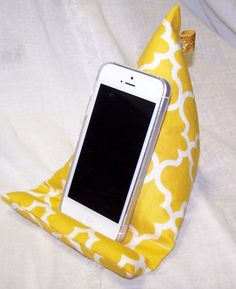 Phone Stand Phone Holder  Yellow Fabric Pillow by peachykeenday