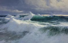 """The Paintings of Donald Demers """"Relentless Sea"""" 24x36 oil."""