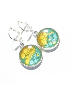 Turquoise Yellow Painted Silver Disc Dangle Earrings by JKCJewelry