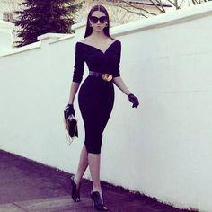 Black Dress- I love the gloves