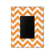 Orange chevron stripes Picture Frame on CafePress.com