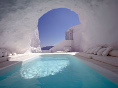 Cave pool, Santorini, Greece.