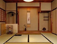 Teahouse (interior) with sunken hearth. With Kagetsu (Counter) ヶ月: counter for months, used to express a period of time numbered in months
