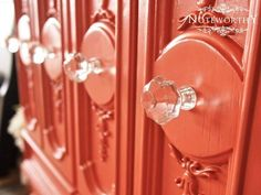 coral painted furniture glass hardware