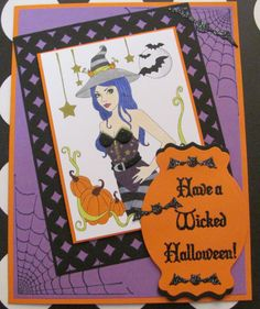 I just listed Wicked Halloween Greeting card handmade witch A7 spooky glittery…