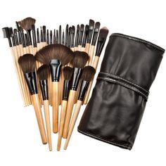 32pcs Nylon Wool Bristle Wooden Handle Professional Cosmetic Brush Set