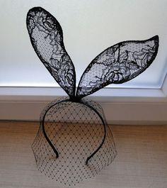 NEW black OR white vintage rose wall lace bunny rabbit ear veil mask hairband headband Alice In Wonderland Lolita Gaga via Etsy