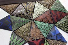 """Our new """"geo tile"""" for backsplash. Handmade, sgraffito-carved, ceramic"""