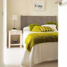 small bedroom design with white decor and yellow green accents