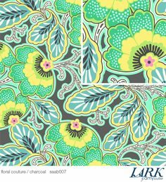 Fabric in my collection : Amy Butler Lark home decor Charcoal/ Floral Couture SAAB 007