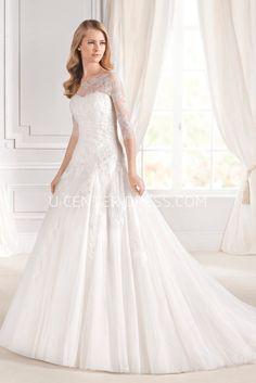 US$198.59-Classy Ball Gown Tulle Wedding Dress  with Sleeves.  http://www.ucenterdress.com/ball-gown-bateau-neck-pleated-3-4-sleeve-tulle-wedding-dress-pMK_704029.html.  #weddingdress #ballgownweddings