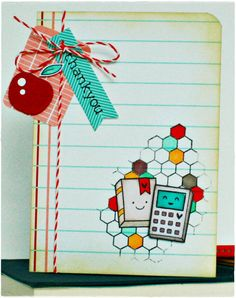 Lawn Fawn - Science of Love, Interlocking Backdrops, Dewey Decimal paper, Peppermint Lawn Trimmings _  Adorable teacher thank you card by Nicola via Flickr - Photo Sharing!