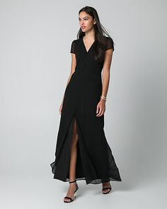 Chiffon V-Neck Maxi Dress - A stunning chiffon maxi dress flaunts a flirty V-neck and a fluid, floor-skimming skirt finished with an enticing split hem.