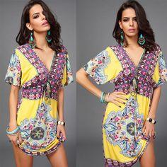 Women Bohemian Printed Casual Dress