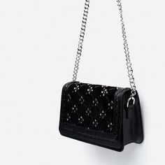 Image 4 of STUDDED LEATHER MESSENGER BAG from Zara