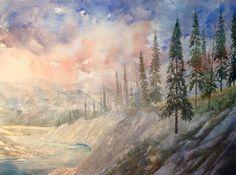 Watercolor Landscape, Rocky Mountains, Art Studios, Scenery, Felt, Fine Art, Artist, Painting, Paisajes