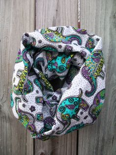 Elephant Day of the Dead Infinity Scarf Lightweight by PrimalVogue, $19.99